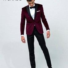 Винтажный вельветовый смокинг/Свадебный костюм для мужчин/Одежда для жениха на заказ(пиджак+ брюки+ Бант
