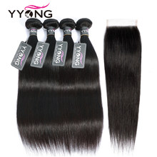 Yyong Straight Hair 4 Bundles With Closure 100% Brazilian Human Hair Weave Bundles 4X4 Lace Closure Non Remy Hair Extensions(China)