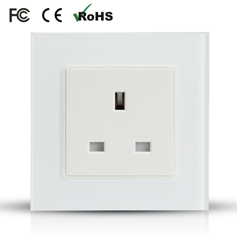 free shipiing white 13A UK norm wall power socket wall outlet Crystal glass panel+Flame retardant PC switch socket free shipping british mk british unit power supply socket metal 13a power outlet british standard unit socket