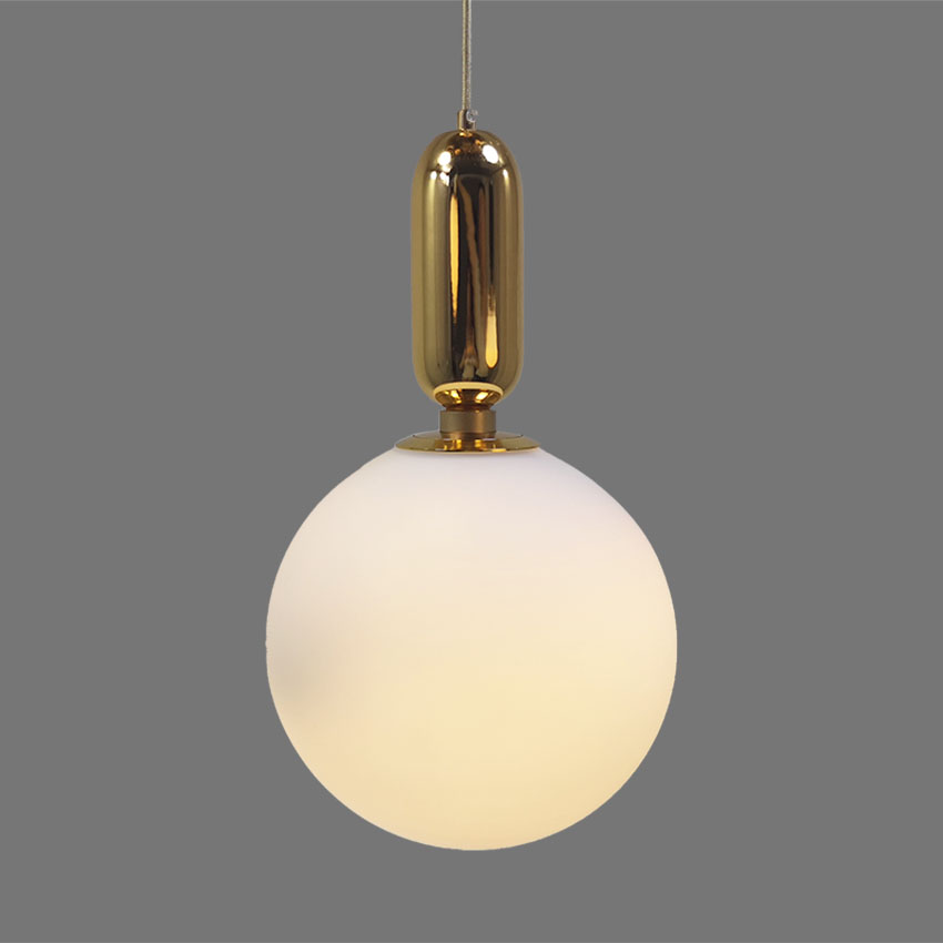 Nordic white glass pendant lights Gold white black Iron glass ball Hanging Lamps for Living Room