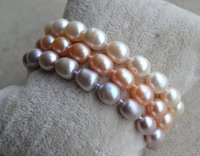 Stunning Pearl Jewelry,AA 7-8MM 7 Inches 3Rows Rice Shape 100% Real Freshwater Pearl Bracelet,White Pink Lavender Pearl