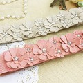 Women PU Leather Flower Elastic Stretch Waist Belt Girls Waistband