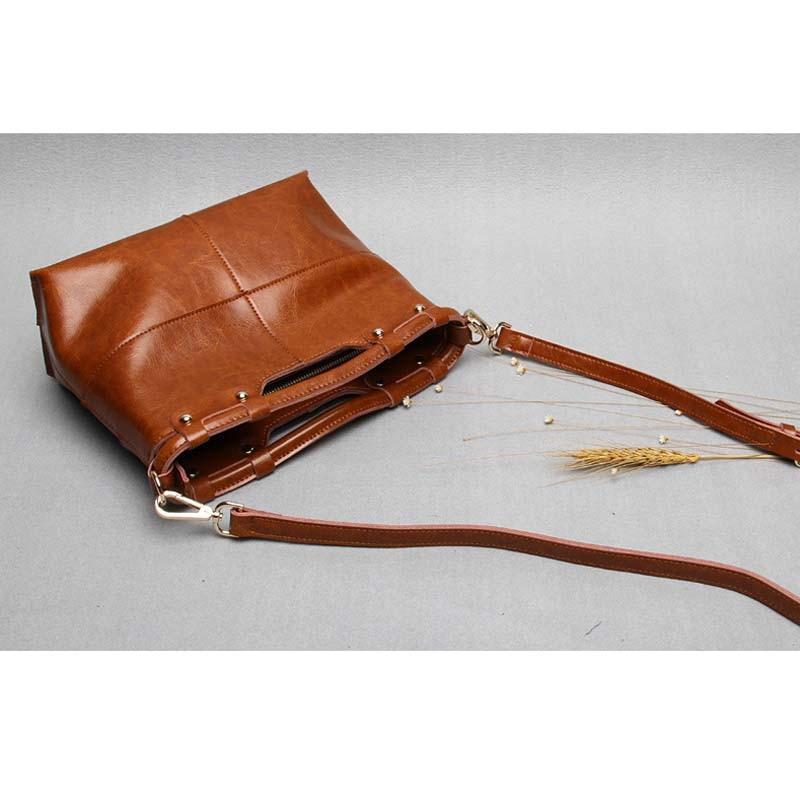 Vintage split lederen tas mode handtas dames draagtas vrouwelijke - Handtassen - Foto 4