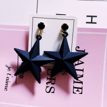 Fashion Dull Polish Five-pointed Star Earrings Women Sweet Pentagram Dangle