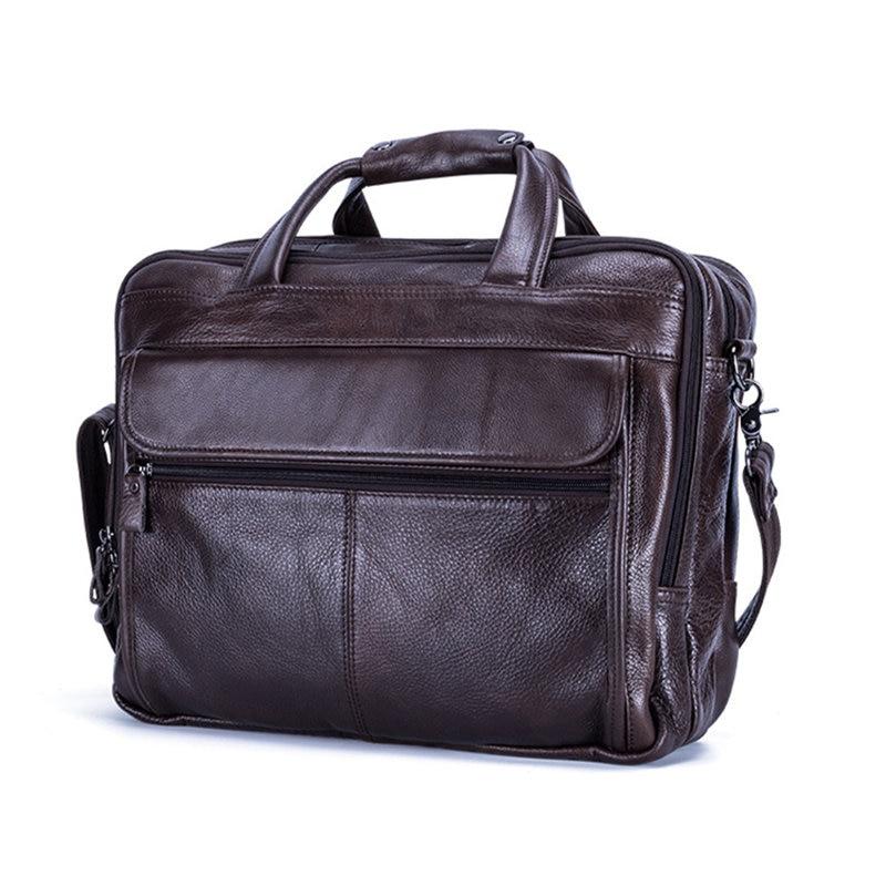 100 Cow genuine Leather Laptop bag 15 6 15 4 inch men s bag Business laptop