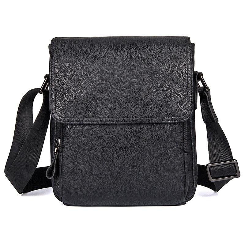 New Men's Korean  Genuine Leather Shoulder Bag Black First Layer Of Small Diagonal Bag Casual Briefs  Messenger Bags
