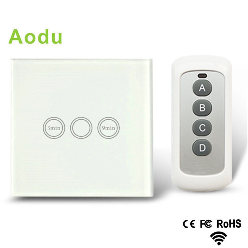 Hot Sale EU Standard Remote Timer switch 1 Gang 1 Way Touch Control Timer Light Switch with RF Remote and blue LED indicator [zob] hagrid eh771 timer switch 1 channel cycle timer switch control switch import import