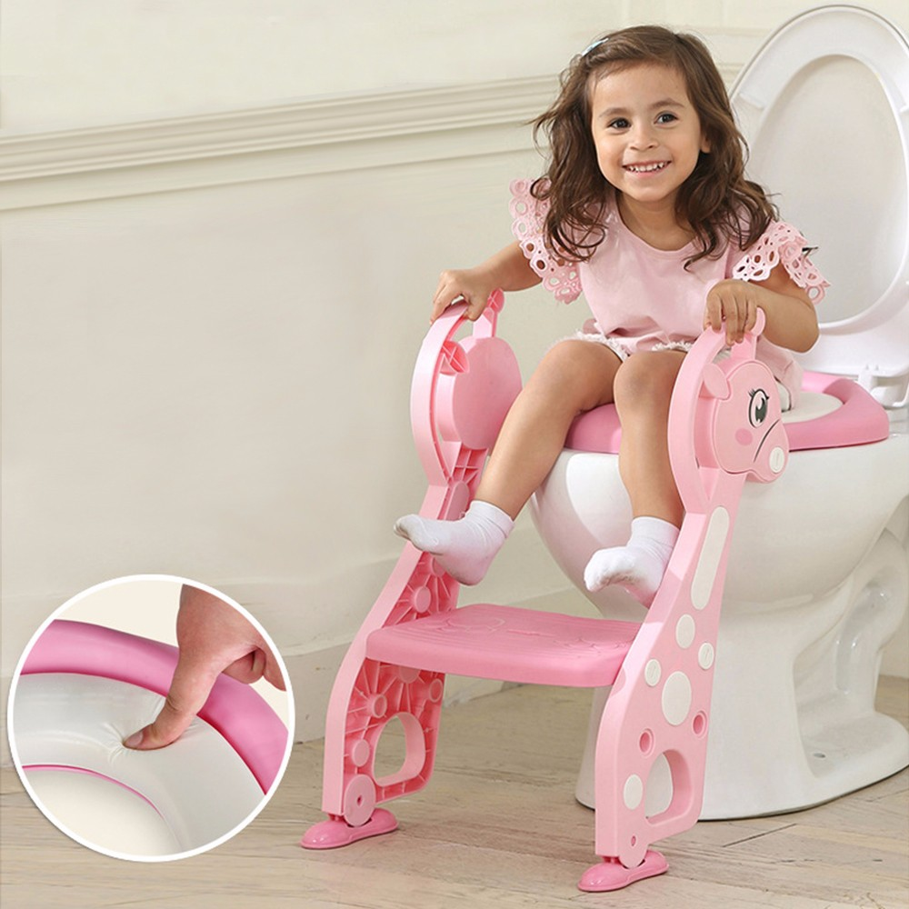 Cartoon Baby Boy Girls Folding Toddler Potty Toilet Trainer Safety Seat Chair Step With Adjustable Ladder Training Penico Toilet children baby toilet seat ladder folding chair pee baby toilet safety penico potty ring step ladder stable seat training urinal