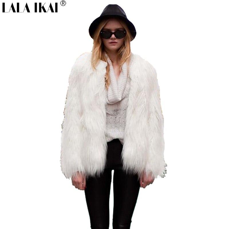 Mujeres blanco Cuero no original chaqueta invierno abrigo