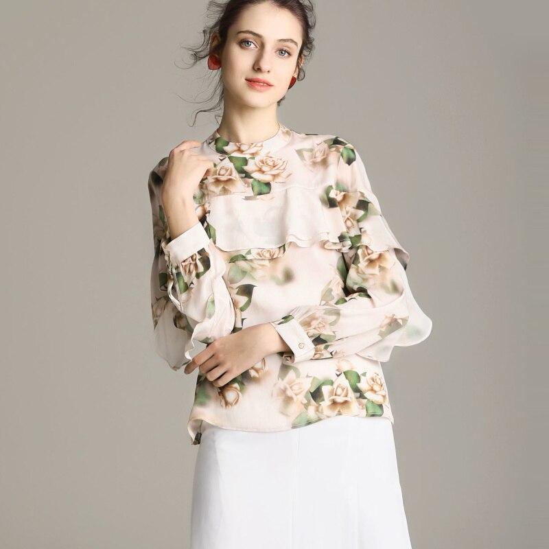 Kadın Giyim'ten Bluzlar ve Gömlekler'de Kadın Ipek Bluz 100% GERÇEK IPEK KREP Fırfır Bluzlar Çiçek Baskılı Uzun Kollu Bluz Gömlek 2019 Bahar Moda Gömlek'da  Grup 2