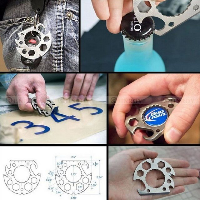 Multi Card Tools Semicircle Tool Multifunctional Bottle Opener Wrench  Screwdriver Rope Cutter Mini EDC Pocket Tools