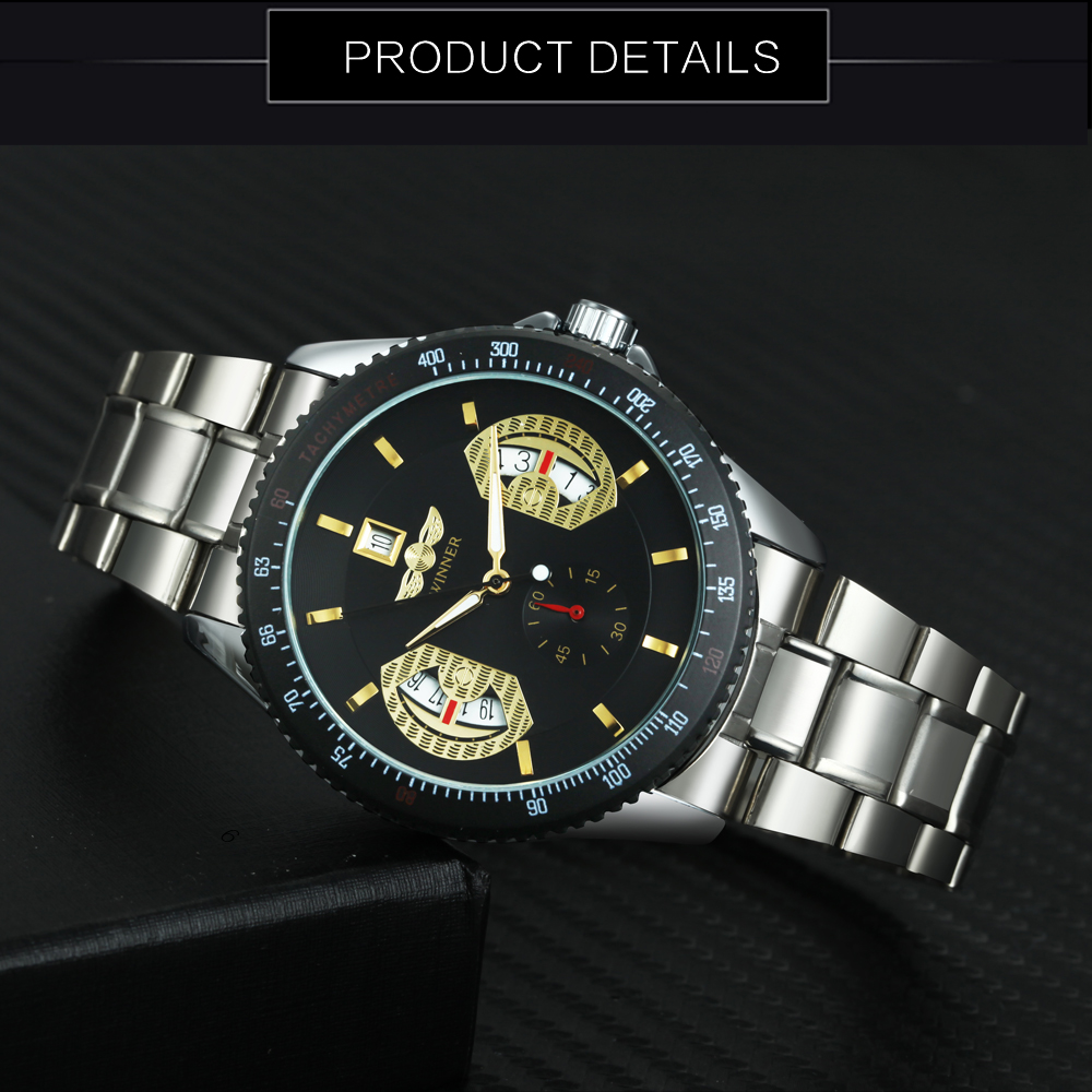 T WINNER Fashion Automatic Mechanical Watch Men Stainless Steel Strap Working Sub dial Date Display Top Brand Luxury Watches in Mechanical Watches from Watches