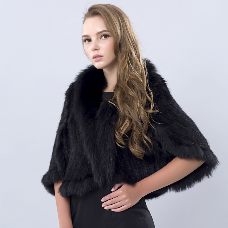 2016 Winter Women s Genuine Knitted Mink Fur Shawls With Fox Fur Collar Pashmina Capes Bat