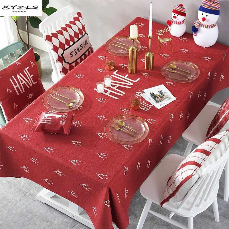 XYZLS Christmas Tablecloth Polyester Cotton Dust-proof Table Cover Xmas Thanksgiving Dinner Table Cloth Home Party Decor