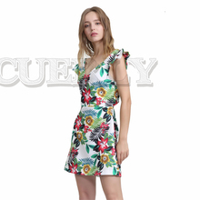 CUERLY 2019 women sexy V neck floral pattern dress sleeveless back cut out ladies summer casual chic mini dresses vestidos casual sleeveless back cut out flare dress for women