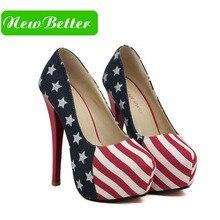 Women red color high heels American flag heels Platform women Pumps autumn spring 2017