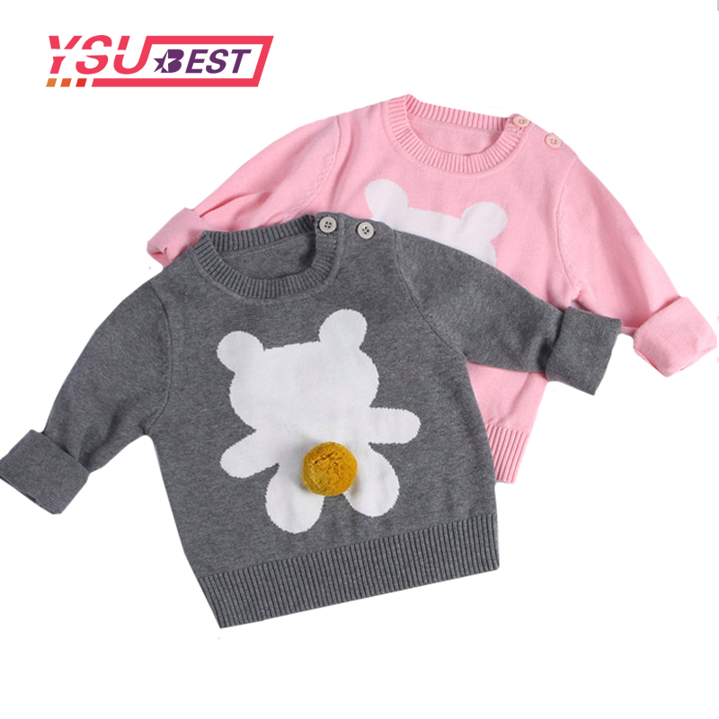 2018 Spring Kids Girls Cute Bear Pattern Sweaters Autumn kids Fashion Bear Pattern Knitting Sweaters For Girl Boy Children Cloth