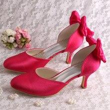 Wedopusส่วนลดร้อนสีชมพูแต่งงานเพื่อนเจ้าสาวรองเท้าส้นMedปิดนิ้วเท้าขนาด8