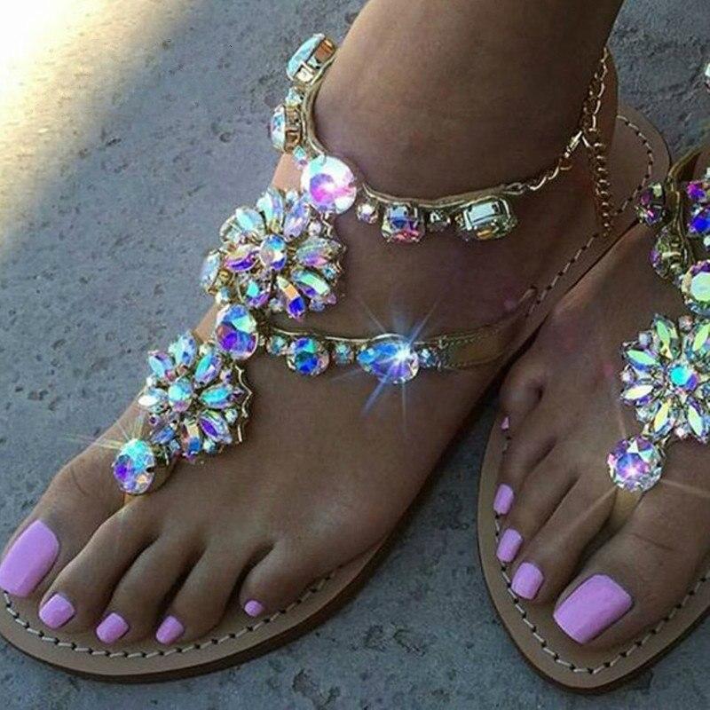 Woman Sandals Women Shoes Rhinestones Chains Thong Gladiator Flat Sandals Crystal Chaussure Plus Size 46 tenis feminino