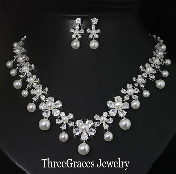 Traje de Boda de lujo Joyas de Circonio Cúbico Nupcial Flor Simulado Perla Colgante Y Pendientes Conjuntos Para Mujeres JS053
