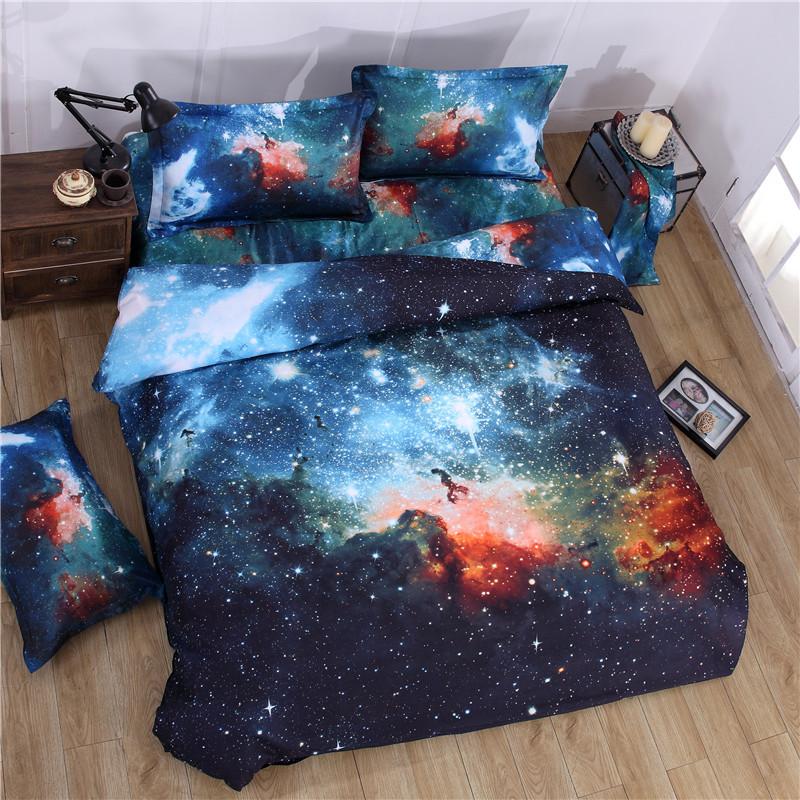 iDouillet 3D Nebala Outer Space Star Galaxy Bedding Set 2/3/4 pcs Duvet Cover Flat Sheet Pillowcase Queen Twin Size 11