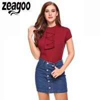Zeagoo Women Casual Short Sleeve Slim Solid Ruffles Top T Shirt Fashion Tops Balck White 2017