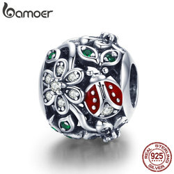 BAMOER 925 Sterling Silver Fashion Red Ladybug Flower Wonderland Cubic Zircon Charms fit Bracelets Bangles Jewelry Making SCC926