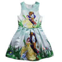 Amuybeen Carnival Christmas Costumes for Girls Dresses Beauty and Beast Cosplay Party Fancy Belle Princess Kids Children Clothes