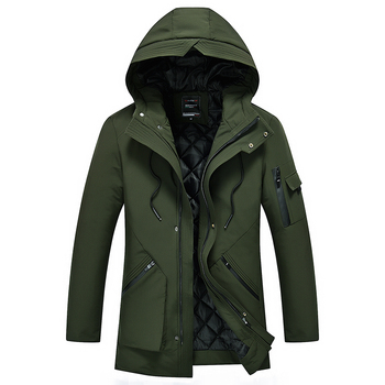 Loldeal Winter Mens Slim Hooded Coats Warm Thick Cotton Parkas Casual Male Down Jacket Parka