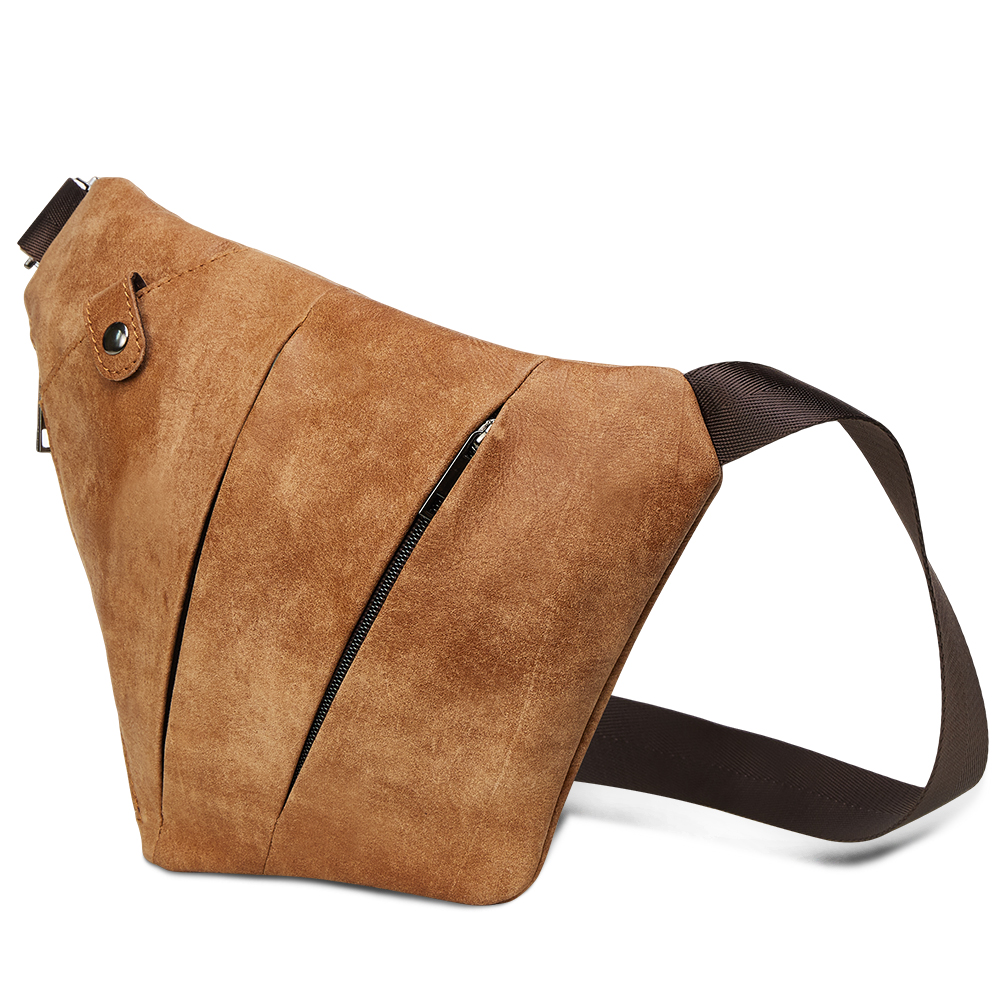 TRASSORY Men's Chest Bag Fashion Casual Riding Crossbody Chest Shoulder Bag Genuine Leather Gun Bag