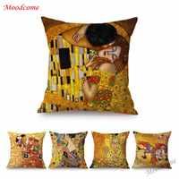 Gold Luxus Dekorative Ölgemälde Hause Dekorative Kissen Fall Abdeckung Gustav Klimt Galerie Sammlung Sofa Stuhl Kissen Abdeckung
