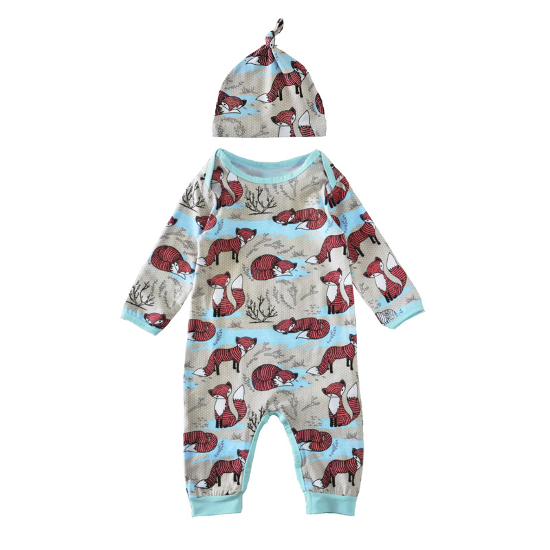 2017 Newborn Infant Baby Boy Girls Romper Matching Hat Long Sleeve Comfy Playsuit Cute Fox Print Jumpsuit Clothes Outfits