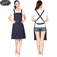 1pcs Unisex Pro Salon Hairdressing Denim Apron Durable Hair Cutting Barber Capes Ajustable Workwear Cloth with Tool Pockets