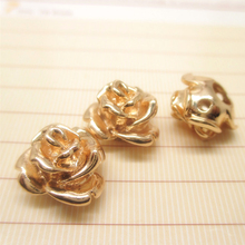 (31994)6PCS 13*9MM 24K Champagne Gold Color Brass Rose Flower Bracelets Spacer Beads High Quality Jewelry Findings Accessories