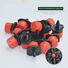 Emitter Dripper Red Watering Kits 100 Pcs 8 Holes Anti Clogging Micro Drip Irrigation System Garden Supplies Adjustable 1/4 Inch