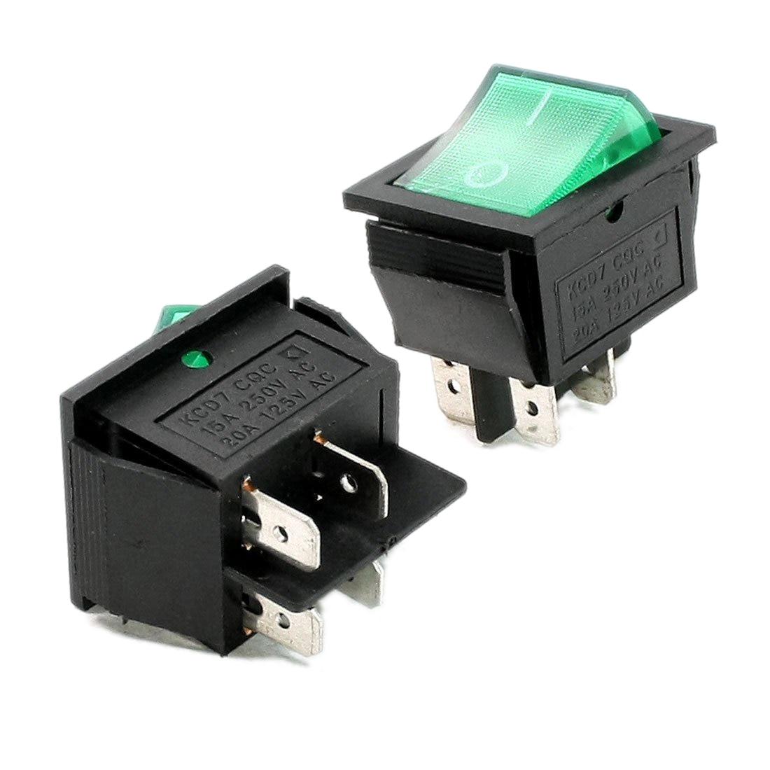 2 Pcs Green Illuminated Light On/Off Boat Rocker Switch AC 10A 250V/20A 125V