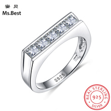 Pure real Sterling Silver 925 Women engagement rings with la