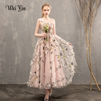 WEIYIN High Quality Custom Made Vestidos De Festa Fairy Baby Appliques Handmade Flowers Pageant Sleeveless Prom Evening Dress