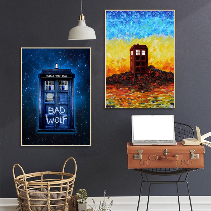 Home Decor Canvas Painting Pictures Wall Art Doctor Who Phone Box TV Series Prints Nordic Style Watercolor Poster Living Room