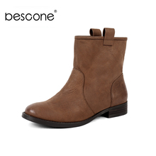 BESCONE Casual Genuine Leather Square Heel Women Boots Basic Solid 3 cm Med Shoes Fashion Handmade Ladies Ankle BY26