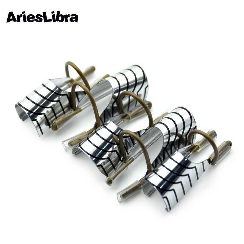 Arieslibra 5 Buah/Bungkus Reusable Nail Art Foil Bentuk Kuku untuk Uv Gel Perak Manikur Kuku Bentuk Panduan Pembangun Alat