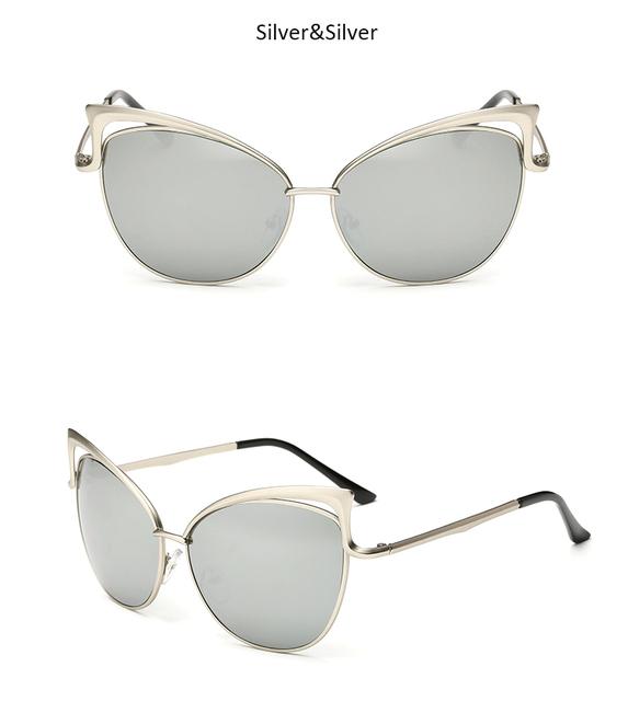 Vintage Women Cat Eye Sunglasses Fashion Sexy Celebrity Female Shades Retro Cateye Big Hollow Metal Mirror Sun Glasses UV400