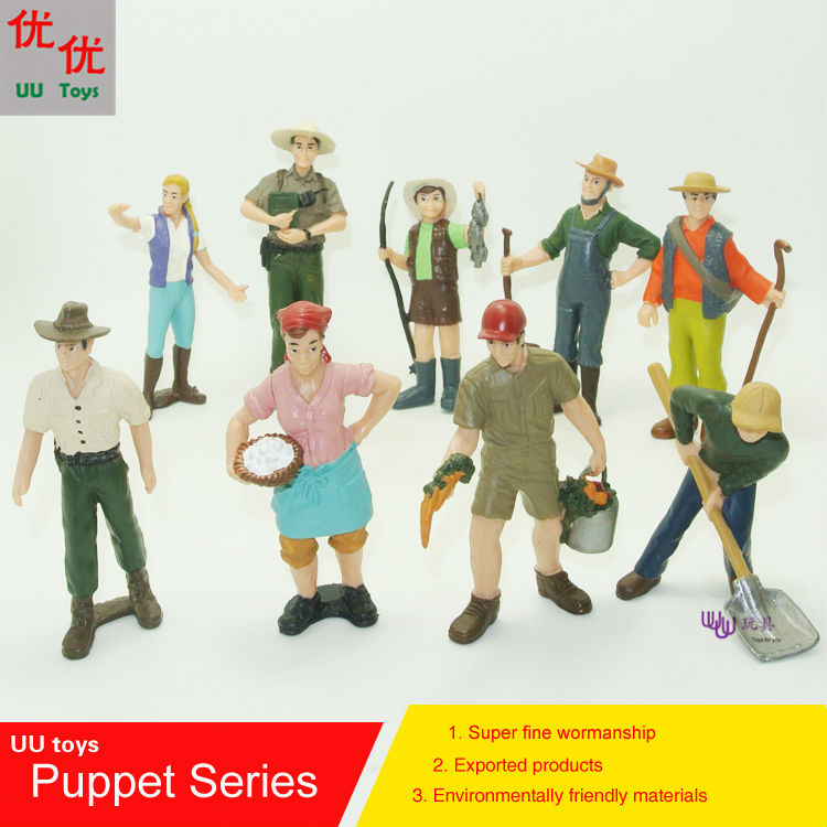 9 different people/set, Professional hand puppet, Farmer,Ranch keeper,Park Ranger, Worke ...