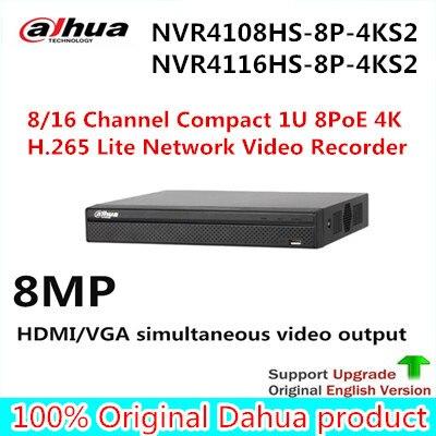 DAHUA 8ch 16ch NVR 4k h265 8 poe port NVR4108HS-8P-4KS2 NVR4116HS-8P-4KS2 8PoE 4K&H.265 Lite Network Video Recorder with logo