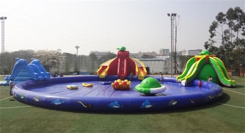 Inflatable Water Parks with Large Pool and Slide Inflatable Swimming Pool With Water Toys children shark blue inflatable water slide with blower for pool