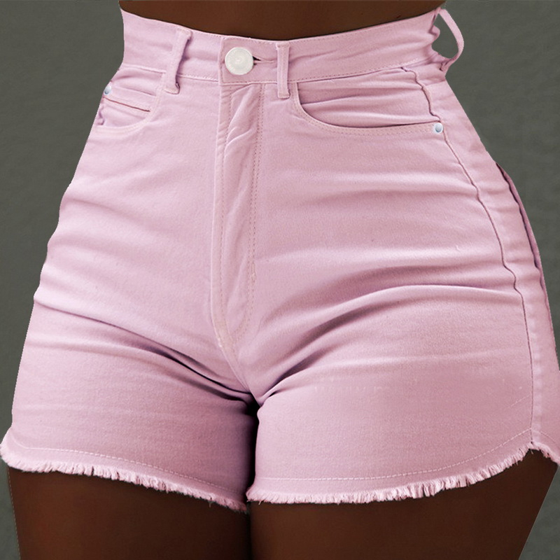 Women's Fashion Semmer High Waist Jeans 2019 New Ladies Casual Skinny Slim Fit Solid Color Tassel Sexy Shorts(China)