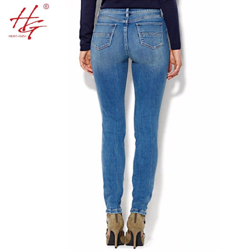 0c8c0bcfaf US $31.88  C18 2017 primavera a vita alta jeans donna plus size pantaloni  jeans stretti fori blu jeans strappati pantaloni femminile in C18 2017 ...