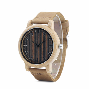 Image 3 - BOBO BIRD WH08 Bamboo Watch Wooden Dial Face with Scale Men Quartz Watches Leather Straps relojes mujer marca de lujo