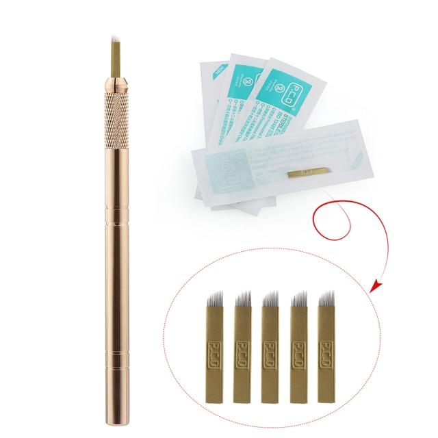 Golden Tebori 3D Tattoo Pen + 5 Pcs 12 Pins Microblading รอยสักเข็มแต่งหน้าถาวร Eyebrow Tattoo Professional ชุด