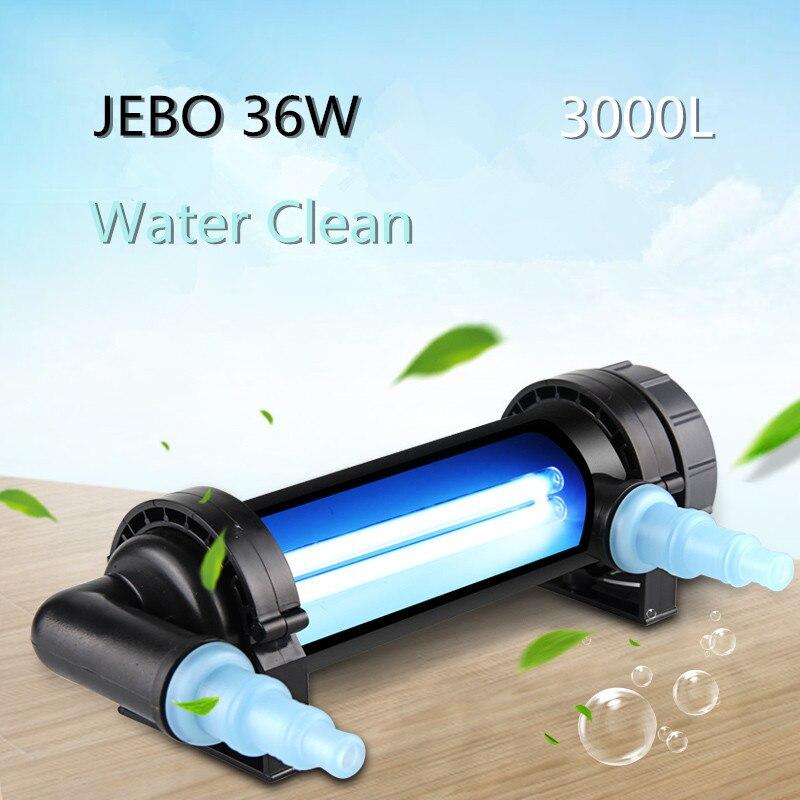 JEBO 36 Potenza Lampada UV Sterilizzatore Acqua Più Pulita Chiarificatore Luce Ultravioletta Della Luce del Filtro Acquario di Corallo Koi Fish Tank Pond 3000L Alghe